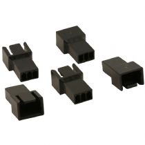 Pack of 5 Male 3 Pin Black Fan Connectors With Crimps
